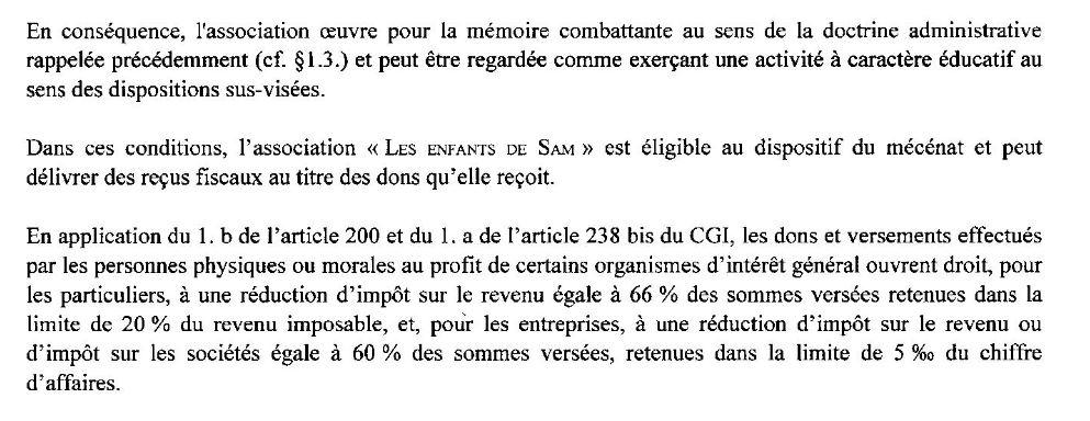 Extrait de l'avis de la DDFP des Hauts-de-Seine sur le rescrit mécénat